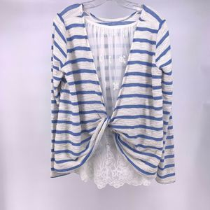 Anthro Blue White Striped Lace Twist Back Top